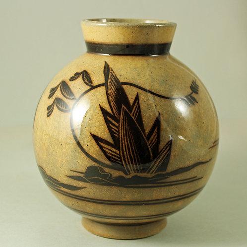NilsThorsson, Aluminia, Denmark. Art Deco JUNGLE Vase