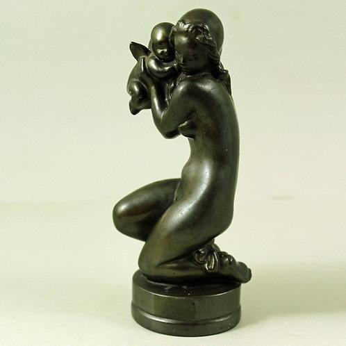 William Peter Larsen, Bronze Sculpture of Woman with Amor