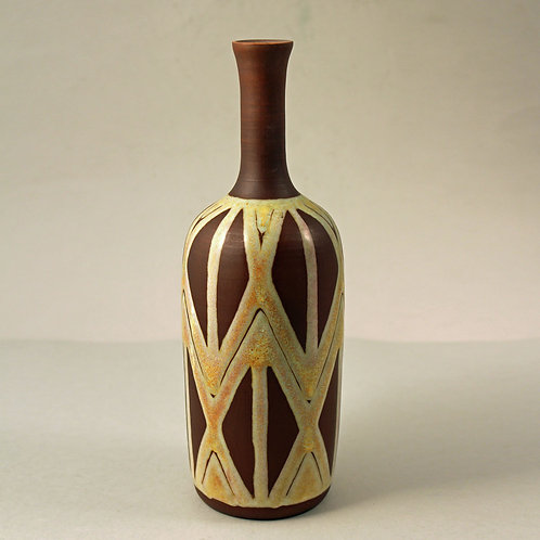 Michael Andersen, Denmark, Vase with Applied Geometric  Pattern