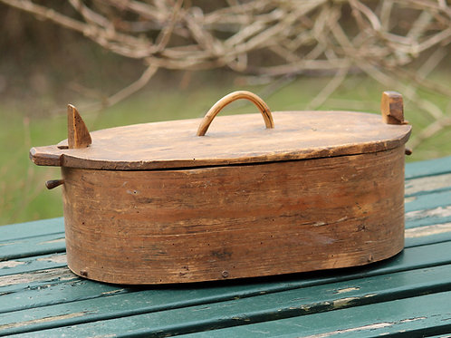 Antique Swedish  'Svepask' Bentwood Box, Nordic Folk Art