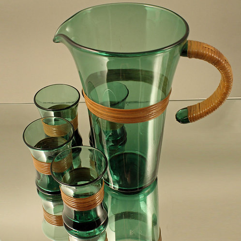 Rare Set of Pitcher and Four Glasses with Rattan