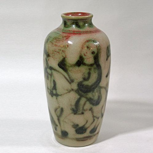 Gertrud Kudielka, L. Hjorth, Denmark. Stoneware Vase, Marble Glaze