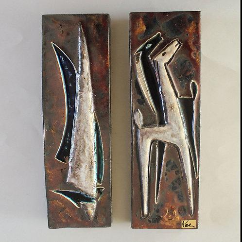 Pair of Helmut Schäffenacker Ceramic Wall Plaques, Germany