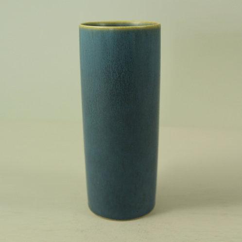 Per Linneman Schmidt, Palshus, Denmark. Vase with Light Blue Haresfur Glaze