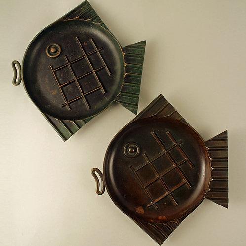 A pair of Bronze Fish Plates, Ystad Metal Sweden