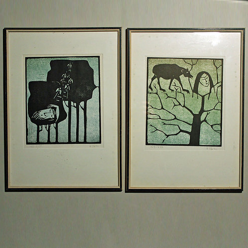Pair of Graphic Prints by Ake Holm, Sweden