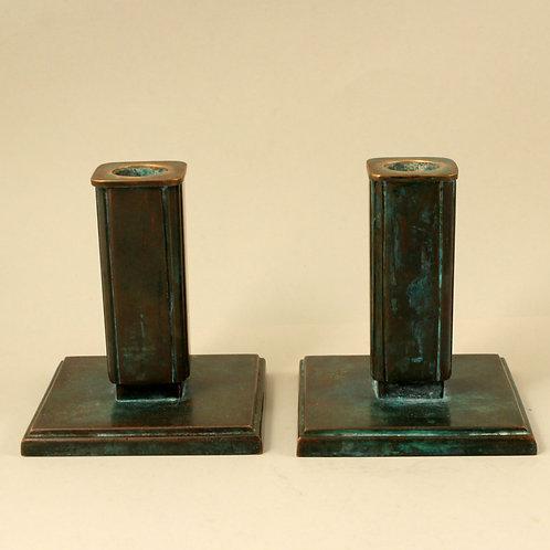 Art Deco Bronze Candleticks, G.A.B., Sweden