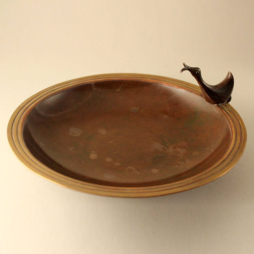 Danish Art deco Bronze Bowl with Stylized Duck