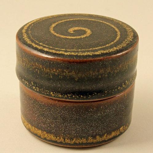 Ulla Hjorth for L. Hjorth, Denmark,  Lidded Bowl, Brown Glaze