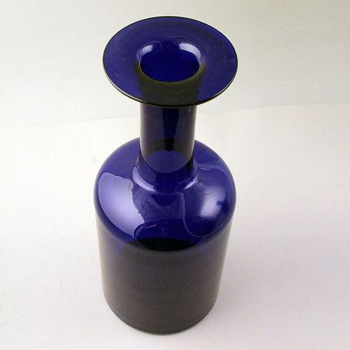 Mid Century Modern Blue Bottle Gulvvase, Otto Brauer, Holmegaard, Denma
