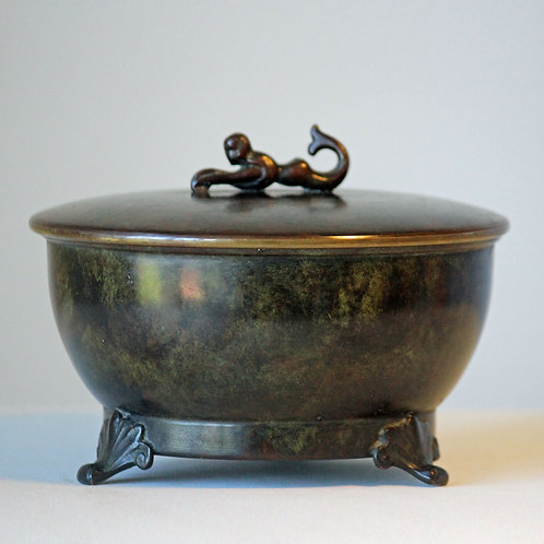 Art Deco Bronze Lidded Bowl, Aegte Bronce, Denmark
