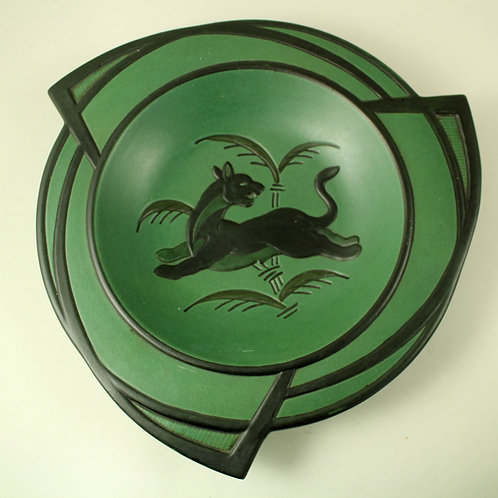 Art Deco Bowl with Panther Decoration,  Ipsen's Enke, Denmark