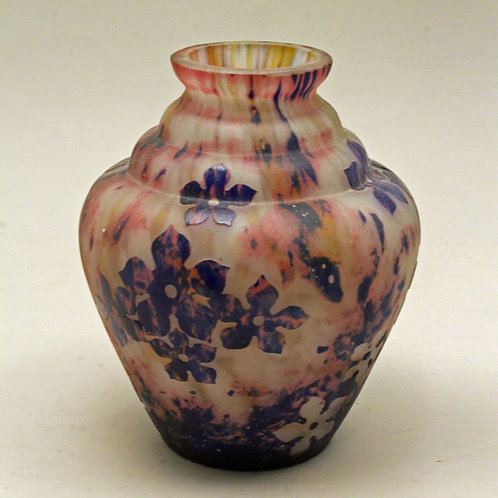 Art Nouveau Cameo Glass Vase, HERO, Czechoslovakia