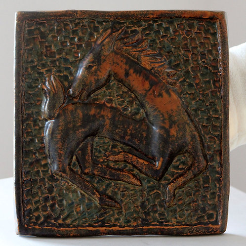 Ejvind Nielsen, Denmark. Large Wall Hanging Tile with Horse
