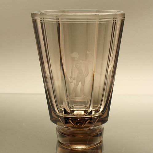 Art Deco Etched Glass Vase, Simon Gate, Orrefors