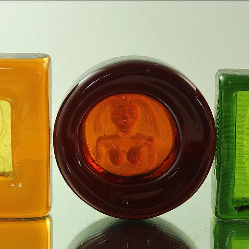 Erik Hoglund, Kosta Boda, Sweden. Art Glass Relief/Bowl, Modernist Art Glass