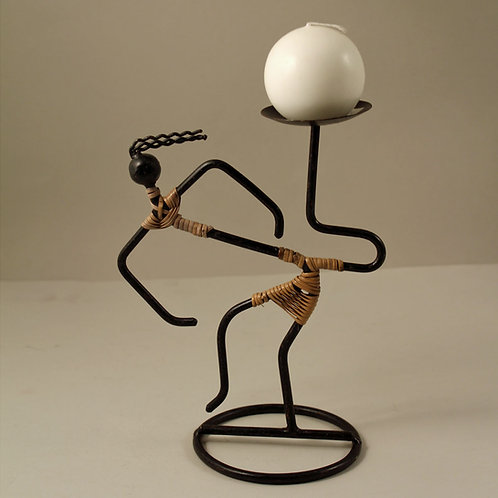 Tribal Art, Wrought Iron Candlestick Holder, Denish Deaign