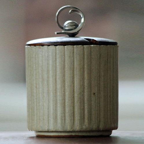 Arne Bang Studio, Denmark. Fluted Jar with Lid