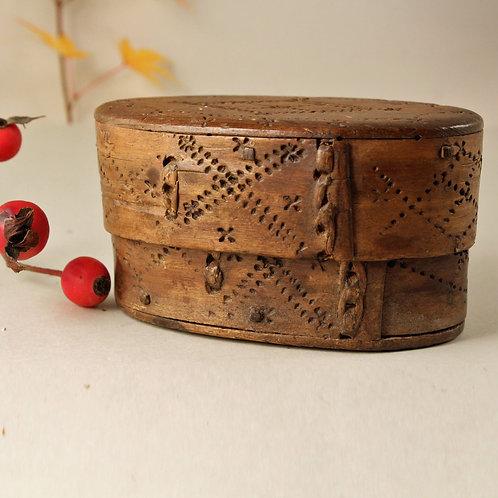 Antique Birch Bark Snuff Box, Swedish Folk Art