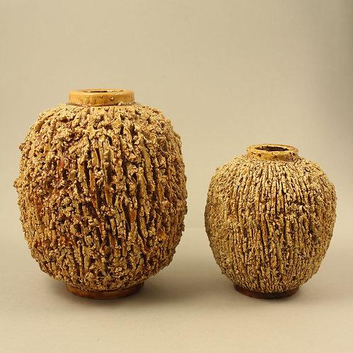 Gunnar Nylund, Rorstrand, Sweden. Pair of Chamotte 'Igelkott' Vases
