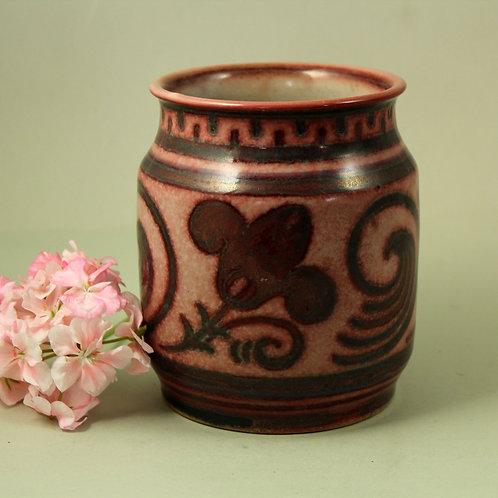 L. Hjorth, Denmark. Stoneware Vase, Marble Glaze
