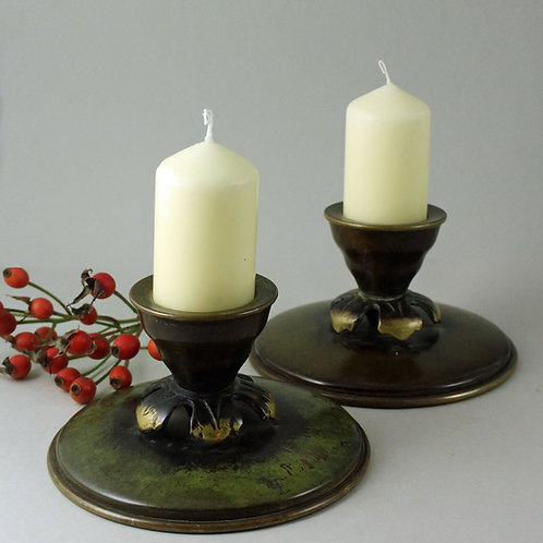 Pair of bronze Candle Sticks, Ildfast Bronce, Denmark