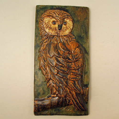 Ejvind Nielsen, Denmark. Wall Hanging Tile. Owl