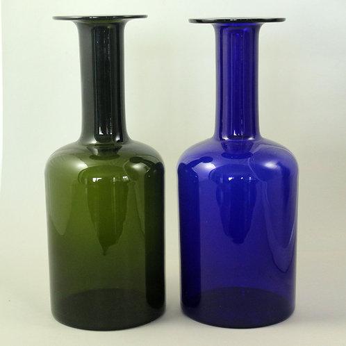 Otto Brauer, Holmegaard, Denmark. Pair of Modernist Bottle Gulvvases