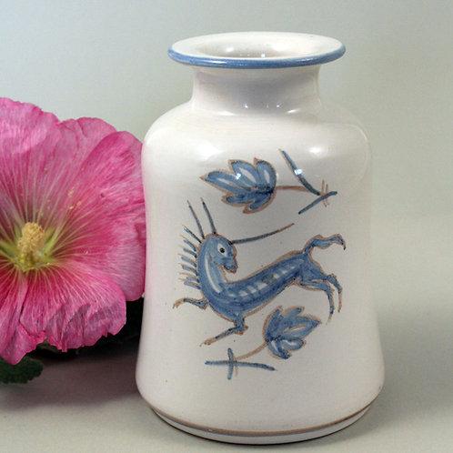 Gertrud Kudielka, L. Hjorth, Denmark. Small Painted Stoneware Vase,