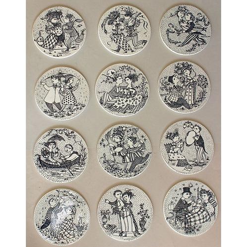Bjørn Wiinblad, Nymolle, Denmark. Complete set of Month Plaques/Plates