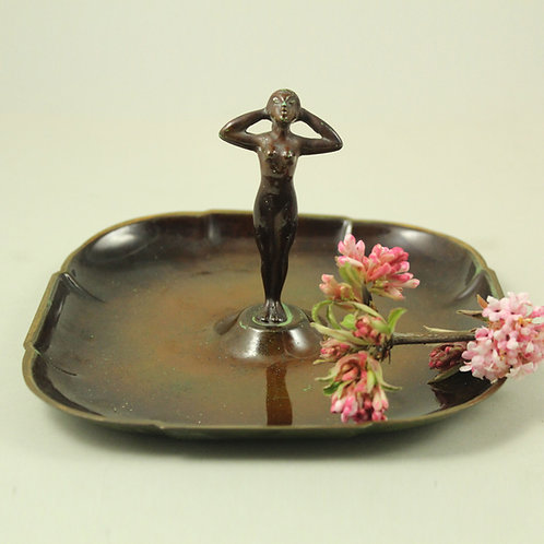 Ildfast Bronce, Denmark. Art Deco Bronze Tray with Nude Sculpture