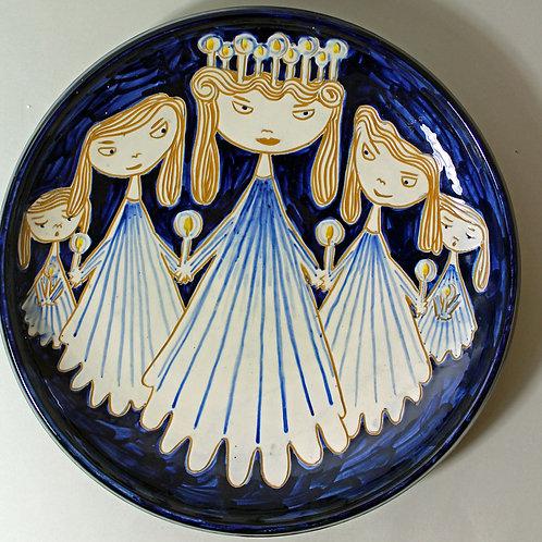 Torben Keramik, Denmark. Large Platter with Figural Decoration