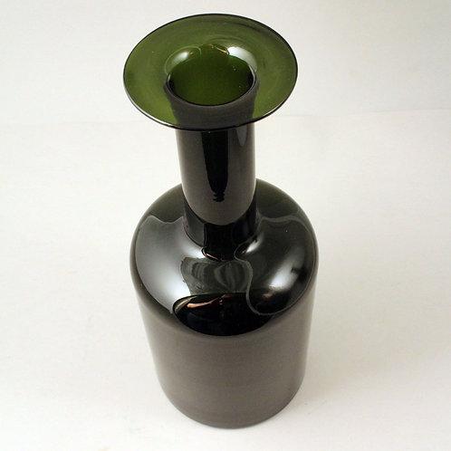"""Mid Century Modern Green Bottle Gulvvase, Otto Brauer, Holmegaard, Denmark. 12"""""""