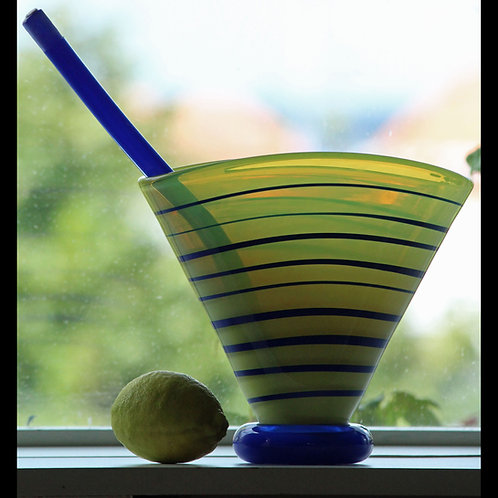 Anna Ehrner, Kosta Boda, Sweden. Atelier Art Vase with Glass Leaf ltd. edition