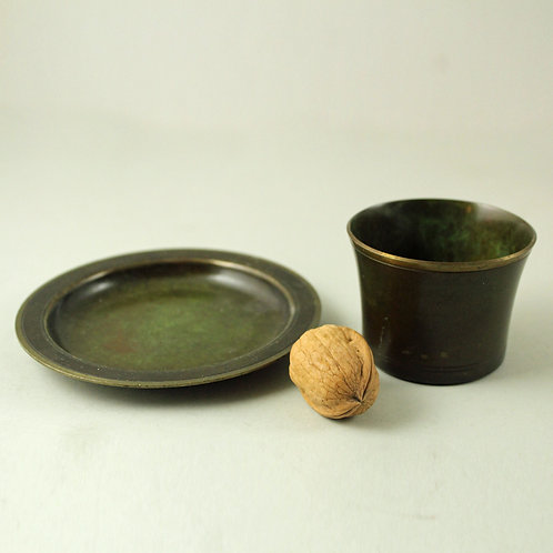 Just Andersen, Denmark. Set of Small  Bronze Bowl and Vase