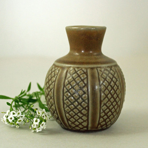 Eva Sjogren,  L. Hjorth, Denmark. Hand thrown bud Vase. Mid Century