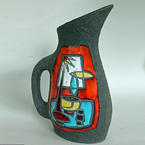 Sgraffito & Lava Pitcher, Italy. Mid Century