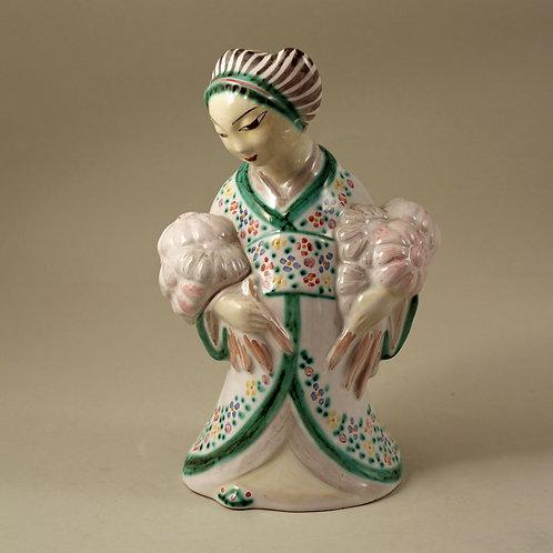Stoneware Geisha Figurine, L. Hjorth, Denmark