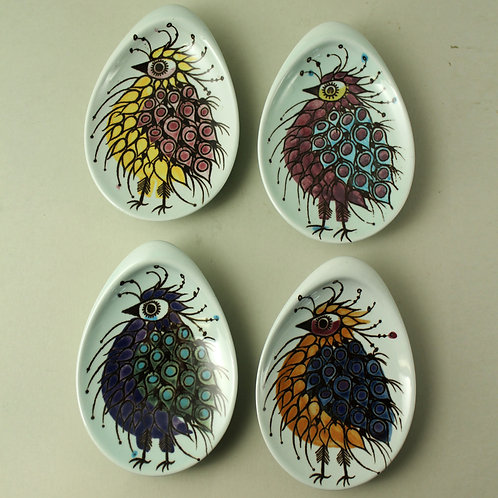 Beth Breyen, Aluminia, Denmark Set of four small CRAZY BIRD Dishes