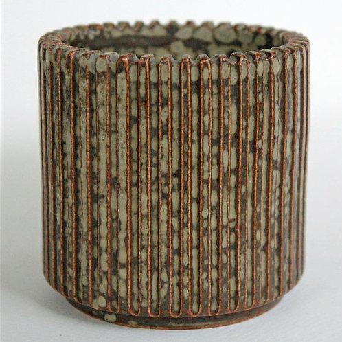 Fluted Stoneware Vase, Arne Bang, Denmark. Mid Cen
