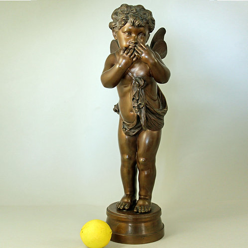Victor Rousseau. Winged Cherub Bronze Sculpture