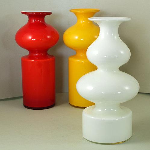 Per Lutken, Holmegaard, Denmark, Large Cased Opal Carnaby Vase. Modernist Glass