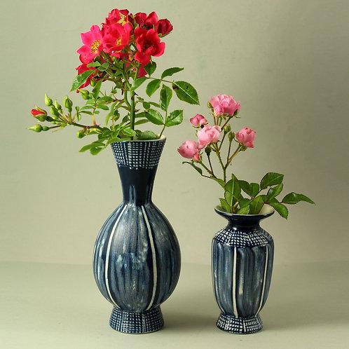 Aksel Nielsen Aksini, Denmark. Pair of Blue and White Vases