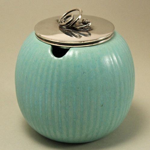Art Deco Jar with Silver Plate Lid, MAS, Denmark