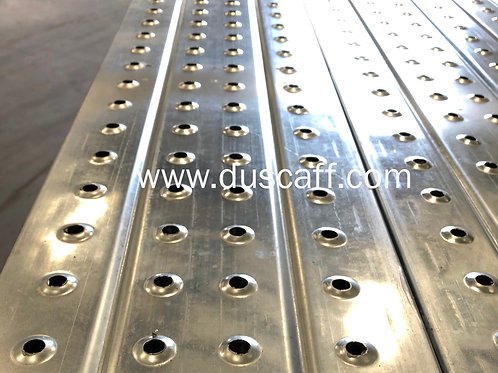 Steel Plank Without Hook, 38 mm x 225 mm x 2 mm x 1.5 meters, Galvanized Finish