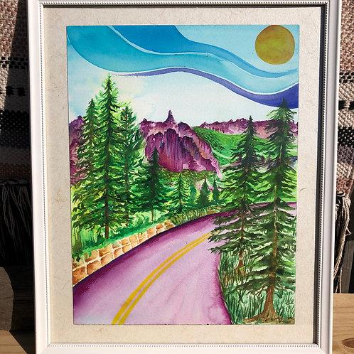 Mountain Road Watercolor