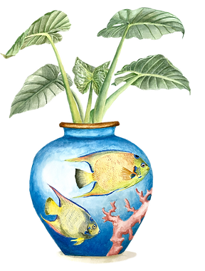 Coral fish, watercolour painting, plants in vase, chinoiserie