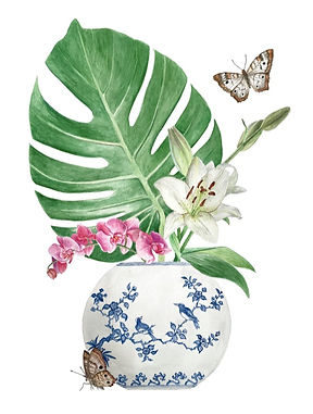 watercolour painting, botanical illustration, lily, orchids, butterflies, blue and white, chinoiserie