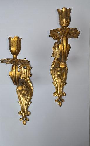 Paire d'appliques en bronze doré Régence.