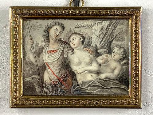 Paire de miniatures sur ivoire XVIIe